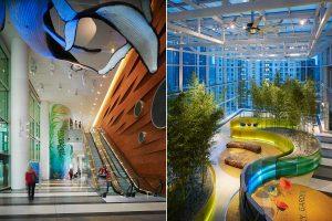 طراحی بیمارستان کودکان شیکاگو با عناصر کودکانه و شاد