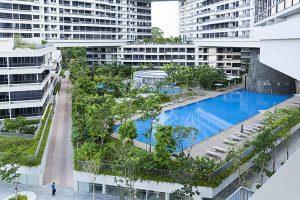 طراحی محوطه مجتمع مسکونی اینترلیس در سنگاپور