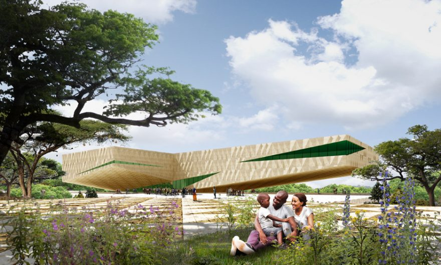 طراحی مرکز فرهنگی و هنری رواندا به شکل دو بال معلق در هوا