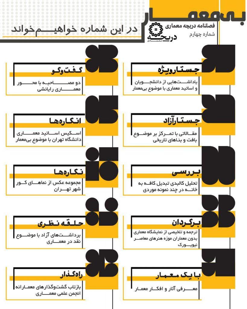 فهرست مطالب شماره ۴ فصلنامه دانشجویی دریچه معماری منتشر شد