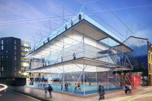 طراحی زمین فوتبال جمع شونده برای مناطق شهری بدون استفاده